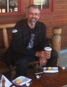 Taking a break at the cowboy coffee house in Cochrane, Alberta