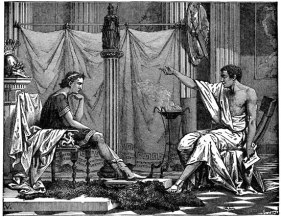 Alexander the Great with his teacher Aristotle
